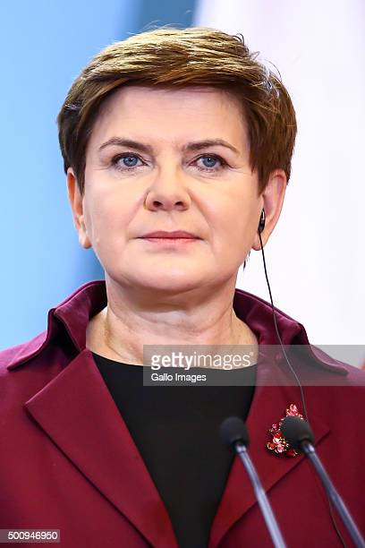 Polish Prime Minister Beata Szydlo during a meeting with Prime Minister of the United Kingdom David Cameron on December 10 2015 at The Chancellery of...