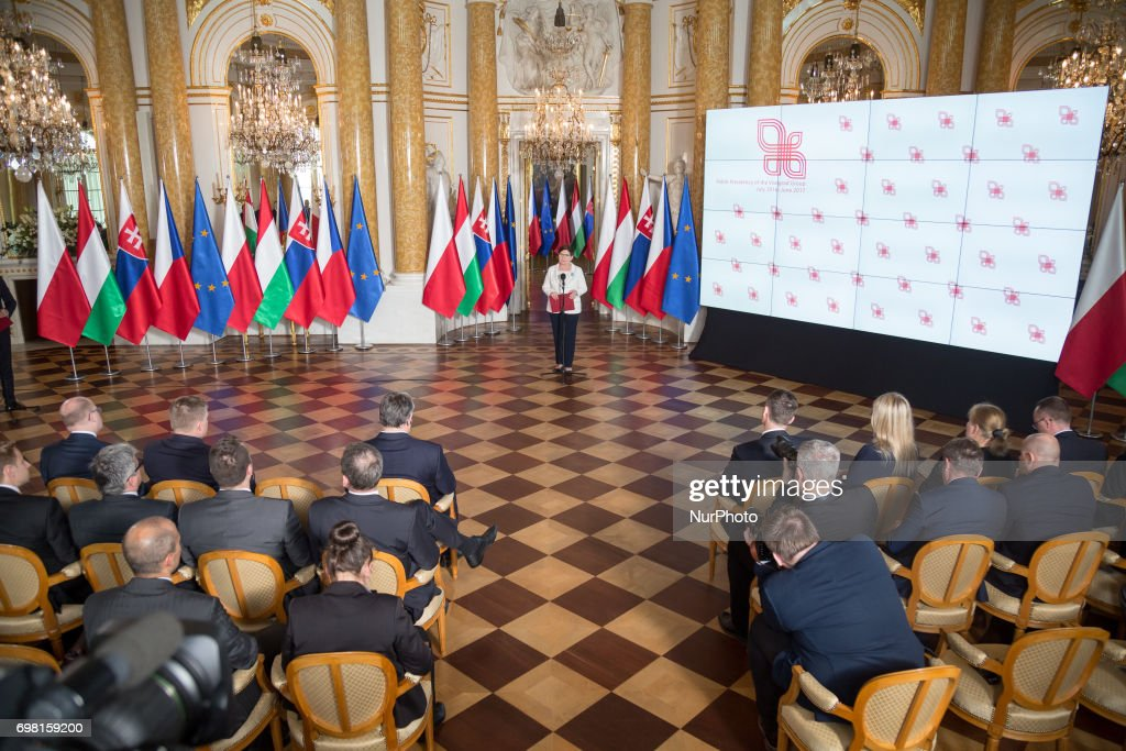 Polish Prime Minister Beata Szydlo speaks during the Visegrad Group meeting at the Royal Castle in Warsaw, Poland on 19 June 2017