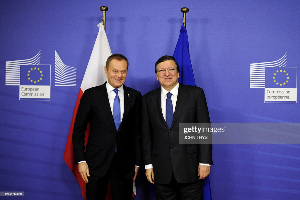 Polish Prime Minister Donald Tusk (L) and European Commission President Jose Manuel Barroso pose at the EU Headquarters on February 7, 2013 in Brussels, on the first day of a two-day European Union leaders summit. European Union leaders head into a fresh clash over the EU's budget with the only certainty being that proposals for several years will be cut back.