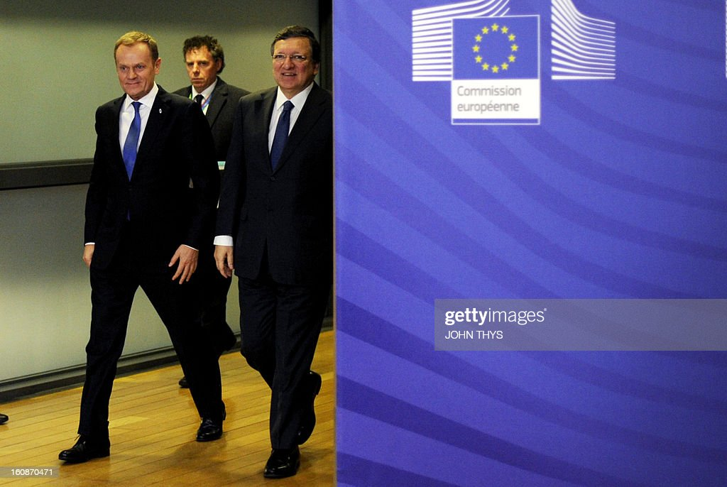 Polish Prime Minister Donald Tusk (L) and European Commission President Jose Manuel Barroso arrive at the EU Headquarters on February 7, 2013 in Brussels, on the first day of a two-day European Union leaders summit. European Union leaders head into a fresh clash over the EU's budget with the only certainty being that proposals for several years will be cut back.