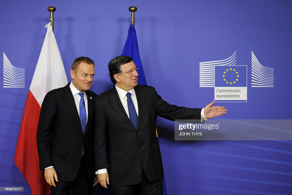 Polish Prime Minister Donald Tusk (L) and European Commission President Jose Manuel Barroso pose at the EU Headquarters on February 7, 2013 in Brussels, on the first day of a two-day European Union leaders summit. European Union leaders head into a fresh clash over the EU's budget with the only certainty being that proposals for several years will be cut back. AFP PHOTO / JOHN THYS