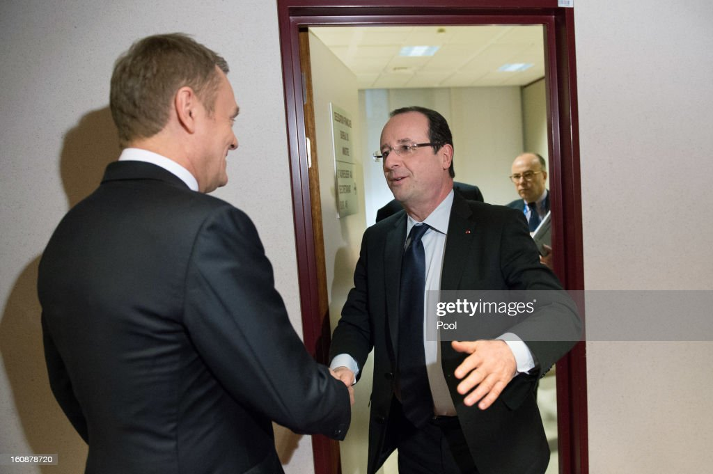 Polish Prime Minister <a gi-track='captionPersonalityLinkClicked' href=/galleries/search?phrase=Donald+Tusk&family=editorial&specificpeople=870281 ng-click='$event.stopPropagation()'>Donald Tusk</a> (L) and French President Francois Hollande meet at the EU Headquarters during the on the first day of a two-day European Union leaders summit on February 7, 2013 in Brussels, Belgium, European Union leaders are set to duscuss the EU's budget.
