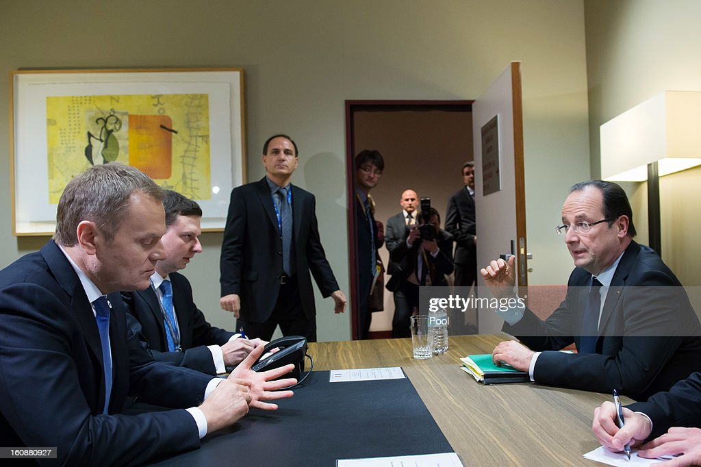 Polish Prime Minister <a gi-track='captionPersonalityLinkClicked' href=/galleries/search?phrase=Donald+Tusk&family=editorial&specificpeople=870281 ng-click='$event.stopPropagation()'>Donald Tusk</a> (L) and French President Francois Hollande (R) sit during a meeting at the EU Headquarters on the first day of a two-day European Union leaders summit on February 7, 2013 in Brussels, Belgium, European Union leaders are set to duscuss the EU's budget.
