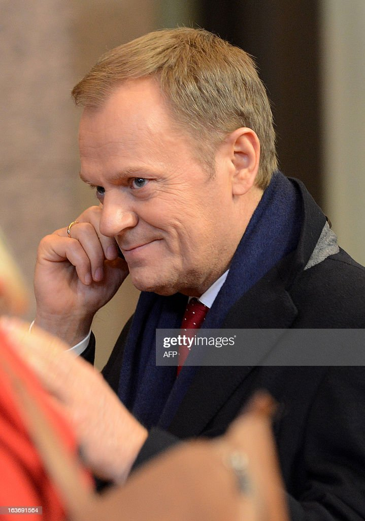 Polish Prime Minister Donald Tusk leaves the EU Headquarters on March 14, 2013 in Brussels, after the first day of a two-day European Union leaders summit. European Union leaders try Thursday to find a difficult balance between austerity policies adopted to cut debt and calls to spend more to generate growth and jobs in an economy stuck in the doldrums.