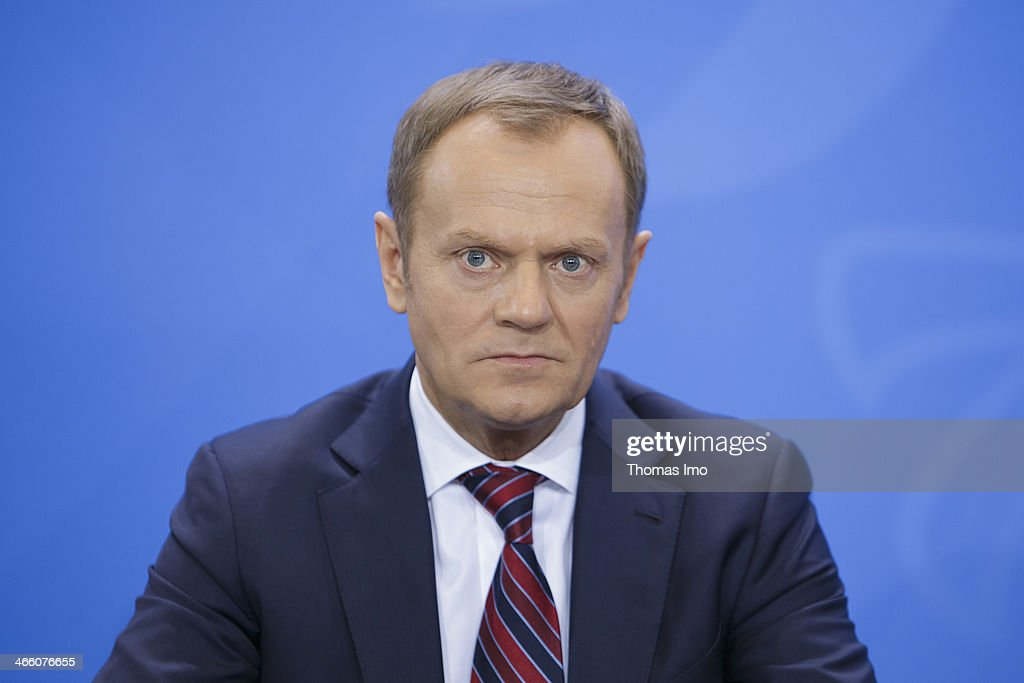 Polish Prime Minister Donald Tusk speaks to the media after a meeting with German Chancellor Angela Merkel (not pictured) on January 31, 2014 in Berlin, Germany.