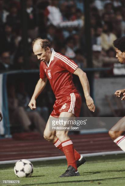 Polish professional footballer and midfielder with the Poland national football team Grzegorz Lato pictured in action with the ball during the 1982...