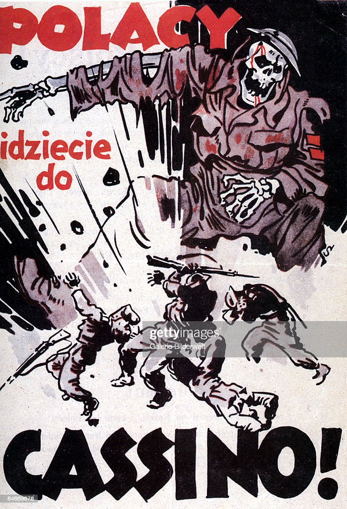 Polish soldiers are killed at Monte Cassino in Italy during World War II, with the caption 'Polacy, idziece do Cassino?' ('Poles, you're going to Cassino!'), February 1944. The back of this German flyer instructs Polish Allied troops to present themselves to the nearest German border guard, in order to be sent home in safety.