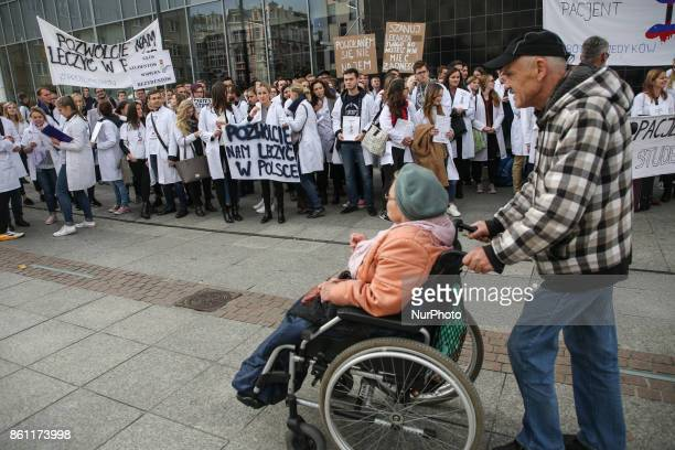 Polish students support resident doctors on hunger strike Katowice Poland on 13 October 2017 About 26 resident doctors have been on hunger strike in...