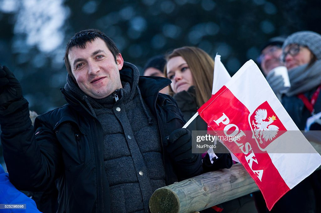 Polish supporter during the Large Hill Individual competition on day one of the FIS Ski Jumping World Cup on February 7 2015 in Titisee Germany