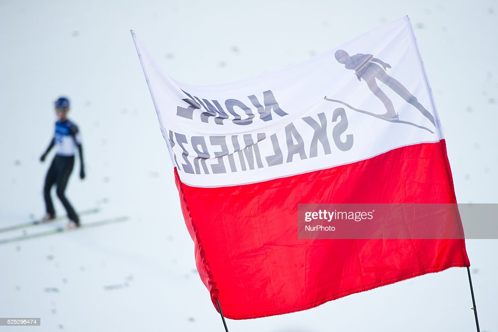 Polish supporter flag at the Large Hill Individual competition on day one of the FIS Ski Jumping World Cup on February 7 2015 in Titisee Germany