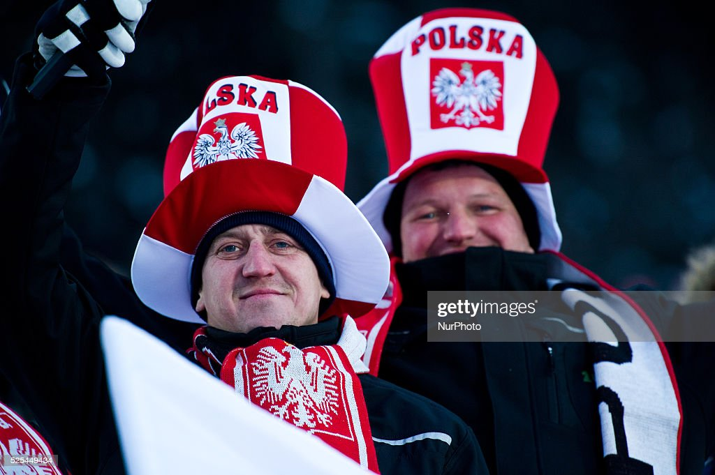 Polish supporters during the Large Hill Individual competition on day two of the FIS Ski Jumping World Cup on February 8 2015 in Titisee Germany