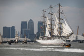 Polish tall ship Dar Mlodziezy leads other vessels on the River Thames on September 9 2014 in London England 50 ships have left London after the Tall...