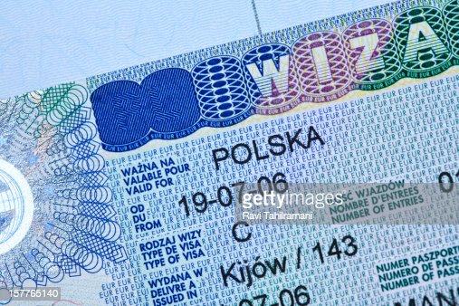 Polish visa stamp in a passport : ストックフォト