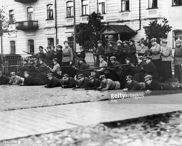 Polish women soldiers in combat possibly during the PolishSoviet War circa 1921