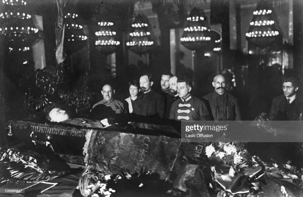Polish-born Felix Edmundovich Dzerzhinsky (1877 - 1926) with Lashevich, Bonch-Bruevich, <a gi-track='captionPersonalityLinkClicked' href=/galleries/search?phrase=Kliment+Voroshilov&family=editorial&specificpeople=213557 ng-click='$event.stopPropagation()'>Kliment Voroshilov</a>, A. Y. Belen'kyi and Varlam Avanesov near Lenin's coffin. 1924. Dzerzhinsky was the founder of the Bolshevik secret police, the Cheka, later the KGB.