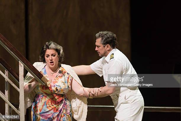 PolishBrazilian baritone Paulo Szot and American mezzosoprano Michaela Martens perform during the final dress rehearsal for the Metropolitan Opera's...