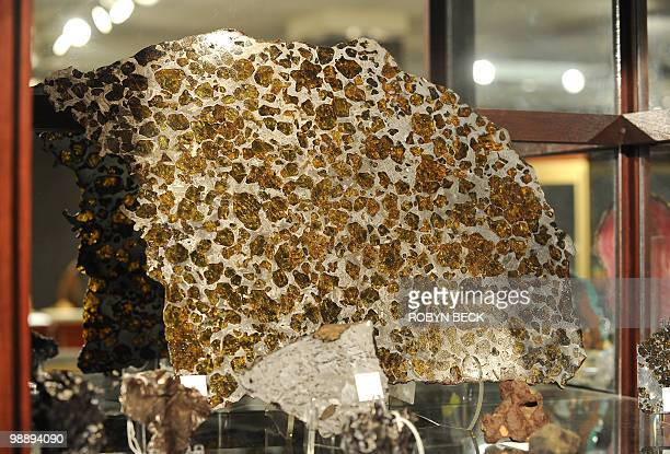 A polished and etched metorite slice named 'Fukang' for the location in China where it was discovered is on display before sale at auction May 6 2010...