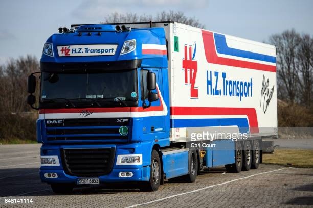 Polishregistered truck belonging to a Dutch haulage company and pulling a Dutchregistered trailer is pictured on the Dutch border with Germany on...