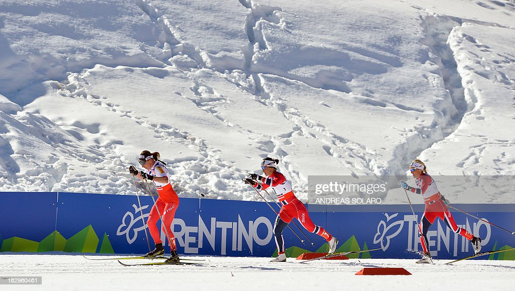 Polish's Justyna Kowalczyk (L) competes on March 2, 2013 followed by Norway's Marit Bjoergen (C) and Norway's Therese Johaug during the Women's Cross Country 30 km Classic race of the FIS Nordic World Ski Championships at Val Di Fiemme Cross Country stadium in Cavalese, northern Italy.