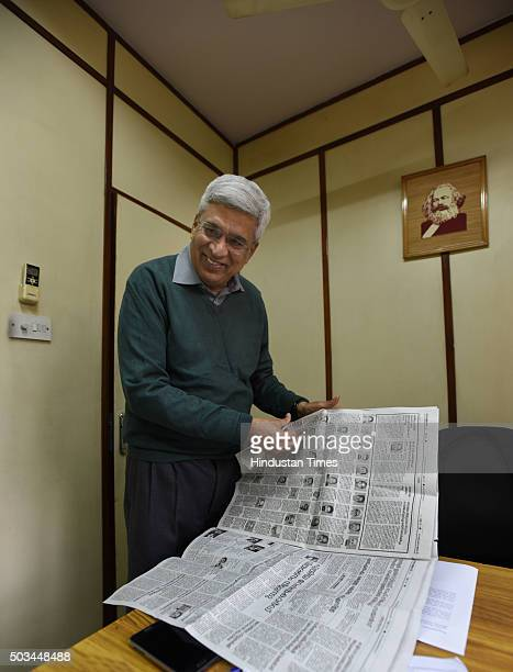 CPI Polit Bureau member and the editor of the party newspaper People's Democracy Prakash Karat briefing about the newspaper at the office at Bhai Vir...