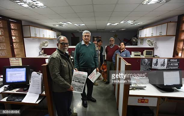 CPI Polit Bureau member and the editor of the party newspaper People's Democracy Prakash Karat with the editorial team of the newspaper at the office...