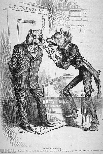 Politcal cartoon by Thomas Nast entitled 'The Hungry 'Solid' Wolf' on the subject of Southern Reconstruction 1879