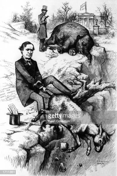 A politcal cartoon by Thomas Nast taken from Harper's Weekly including an early use of the elephant and the donkey to sybolize the Republican and...