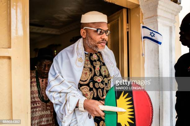 Political activist and leader of the Indigenous People of Biafra movement Nnamdi Kanu wears a Jewish prayer shawl as he leave his house in Umuahia...