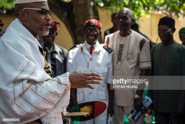 Political activist and leader of the Indigenous People of Biafra movement Nnamdi Kanu wearing a Jewish prayer shawl speaks to veterans of the...