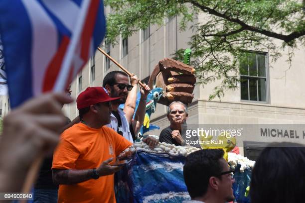 Political activist Oscar Lopez Rivera participates in the annual Puerto Rican Day Parade on 5th Ave on June 11 2017 in New York City Tensions were...