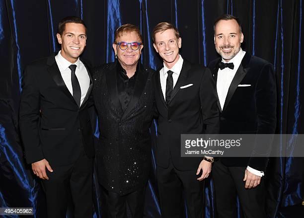Political activist Sean Eldridge Sir Elton John entrepreneur Chris Hughes and filmmaker David Furnish attend Elton John AIDS Foundation's 14th Annual...
