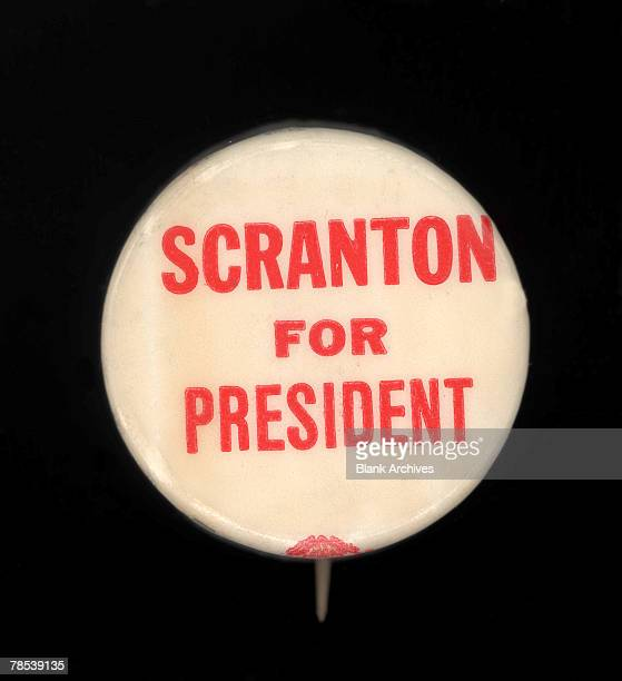 Political campaign button that advocates Republican candidate William Scranton for president in the 1964 US Presidential Election 1964 Though...