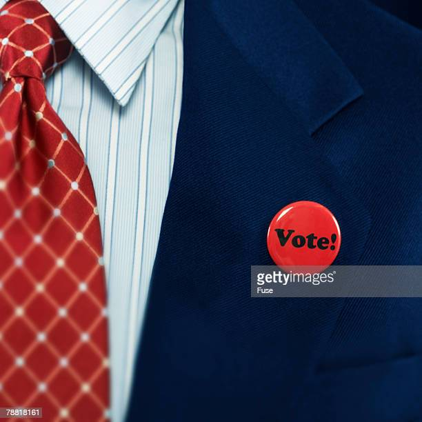 Political Candidate Wearing Vote! Badge