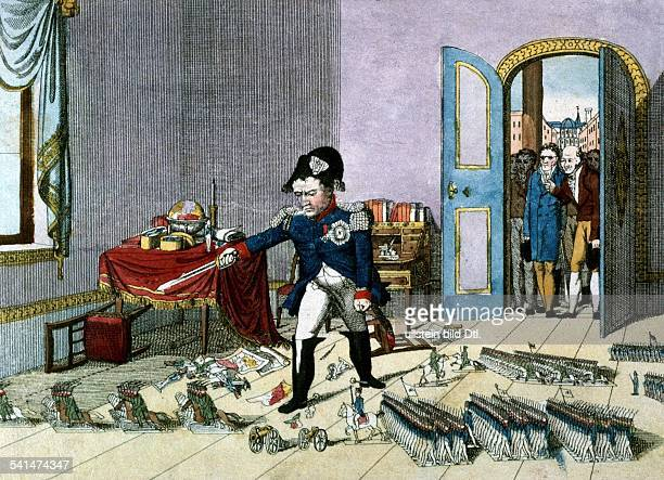 Political Caricatures Napoleon Bonaparte *1811176905051821 French Emperor Caricature of Napoleon commanding an army of tin soldiers at his exile in...