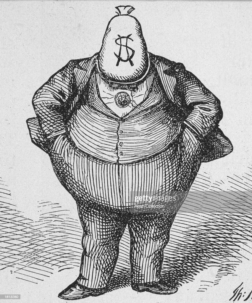Political cartoon by Thomas Nast (1840-1902), depicting William Marcy 'Boss' Tweed (1823 - 1878) with a money bag for a head entitled, 'The brains that achieved the Tammany victory at the Rochester Democratic Convention,' c. 1871.