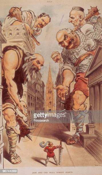 Political cartoon by Udo J Keppler with the caption 'Jack And The Wall Street Giants' which appeared in Puck magazine The cartoon depicts Theodore...