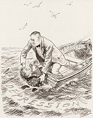 A political cartoon depicting President Franklin Roosevelt in a rowboat named 'National Recovery' struggling to keep Uncle Sam from drowning in the...