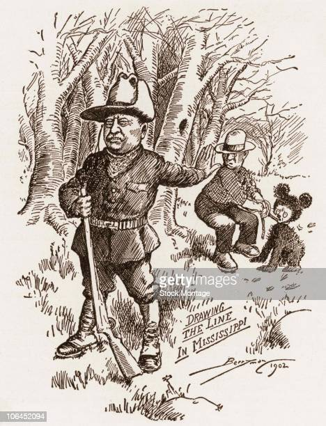 Political cartoon depicts American President Theodore Roosevelt as he declines to shoot a small bear restrained by a rope 1902 The original cartoon...
