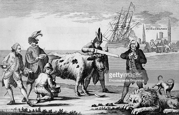 Political Cartoon During The American Revolution Cow Representing English Commerce Is Milked And DeHorned By France Spain Holland And America While...