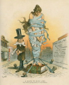 A political cartoon entitiled 'A Slave to Blue Laws New York is getting entirely too much Reform' features an illustration of a woman tied up in blue...