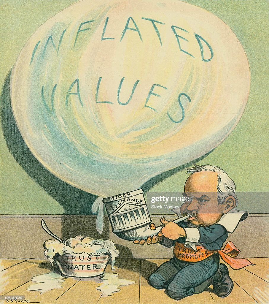 Political cartoon features an illustration of a man who represents outofcontrol business trusts as he used a pipe labelled 'Stock Enchange' to...
