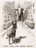 Political cartoon features an illustration of an elephant and donkey face off on Wall Street where outofcontrol business trusts feed coins into their...