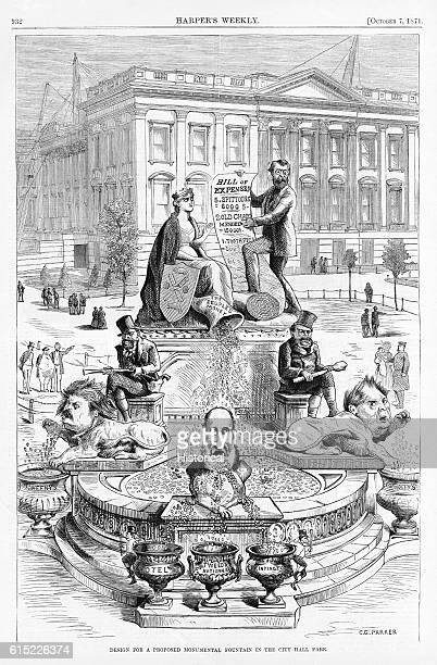 A political cartoon lampoons the corrupt administration in New York New York led by 'Boss' Tweed and the 'Tammany Society' Ca 1871