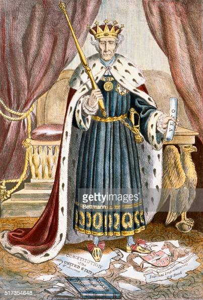 Image result for andrew jackson political cartoon king andrew  getty images