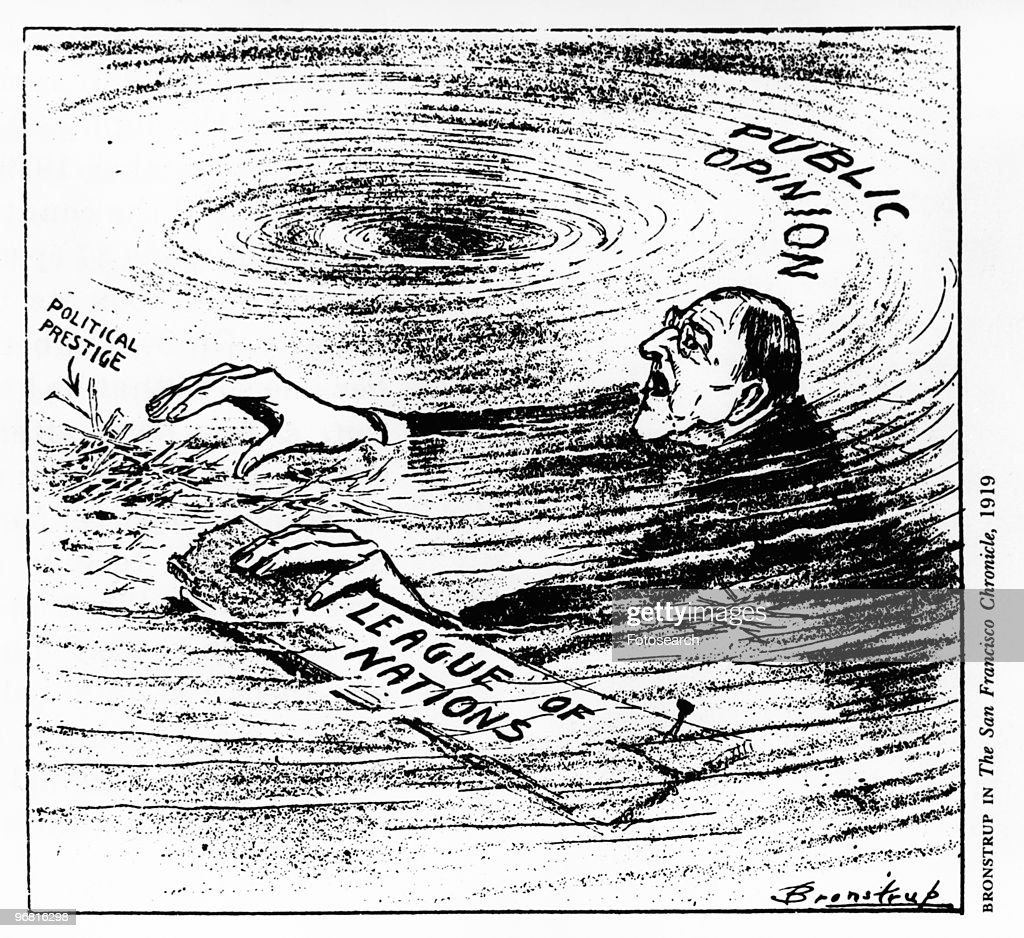 Political cartoon of American President Woodrow Wilson spinning out of control, published by Bronstrup in 'The San Francisco Chronicle', circa 1919. (Photo by Fotosearch/Getty Images).
