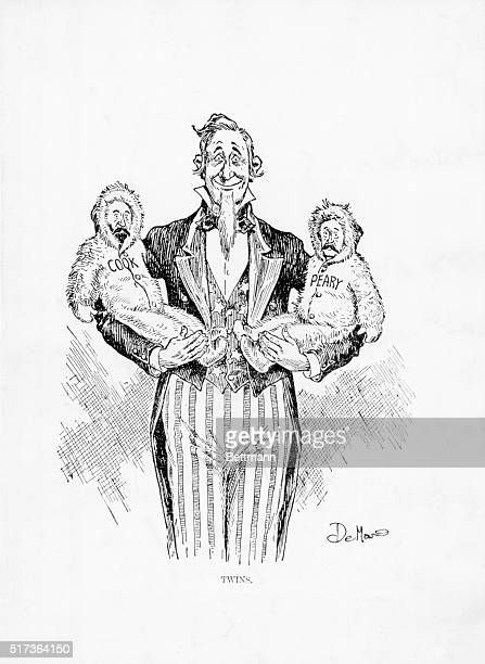 Political cartoon of Uncle Sam welcoming the two explorers who claim priority in discovering the North Pole Dr Frederick Cook and Admiral Robert E...