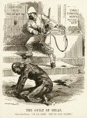 A political cartoon relating to the treatment of native people in the Congo area of Africa shows an African native that appears to have been tortured...
