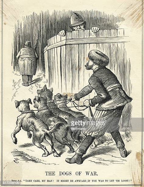 Political cartoon showing a caricature of Russia holding back dogs whose leash names them as four of the Baltic States In the distance is a...