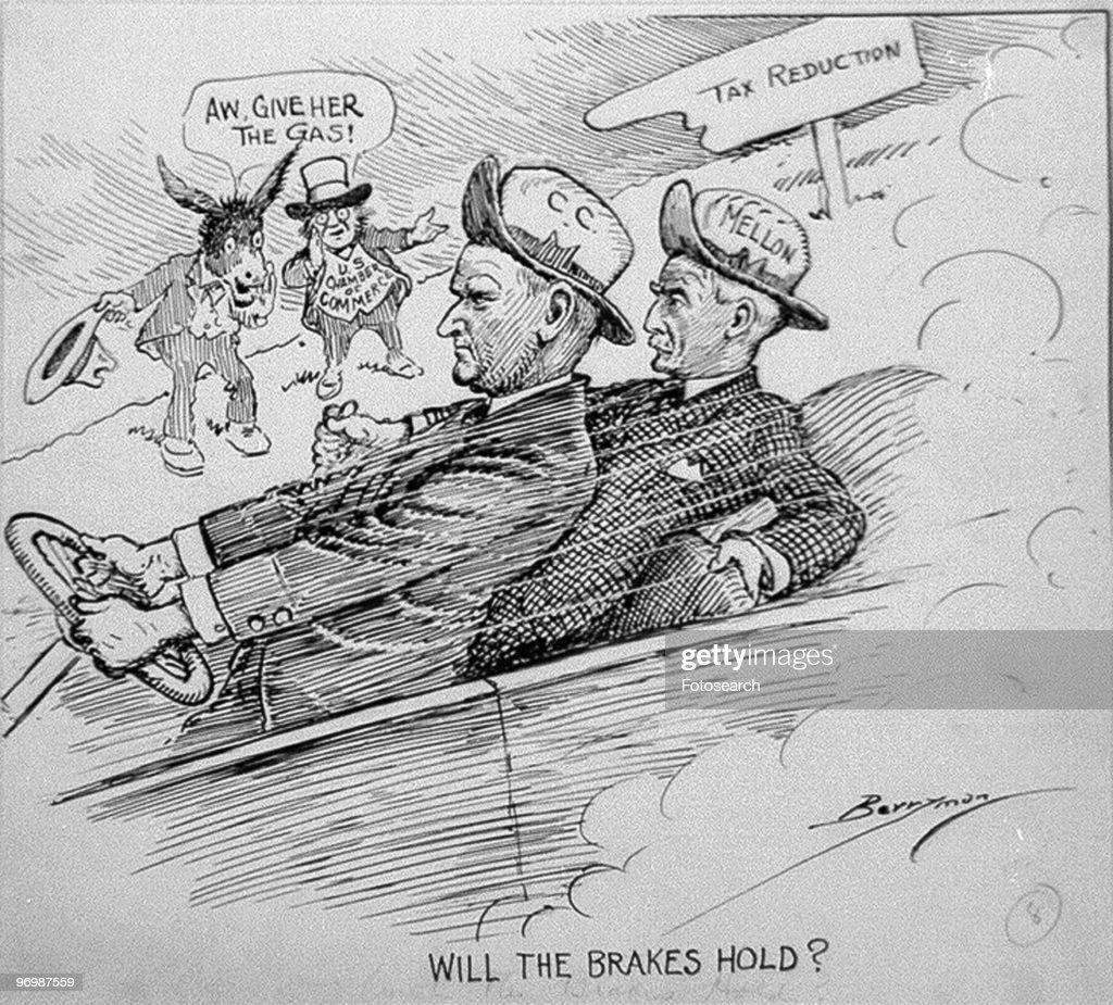 Political cartoon showing President Calvin Coolidge (1872 - 1933) riding in a car with Treasury Secretary Andrew Mellon (1855 - 1937), two figures on the roadside exhort them to 'Give her the gas' and an arrow pointing down is labeled Tax Reduction, ca.1925. The illustration possibly refers to the Revenue Act of 1924, wherein Coolidge, with Mellon's support steered US economic policy towards tax reduction. The cartoonist Clifford Berryman makes this point by depicting Coolidge driving a car headed downhill, with Mellon applying the brakes.