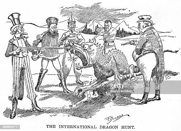 Political cartoon shows China in the form of a dragon surrounded by the armed figures of from left the United States Russia France Japan and Great...